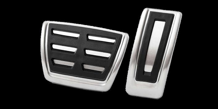 MQB Aluminum pedal covers - Fits VW Golf MK7, Audi A3 8V, Skoda Octavia 5E, Seat Leon 5F. For manual or automatic transmission.